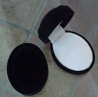 Plush BLACK Velveteen Domed Antique Style OVAL RING Jewelry Gift Box