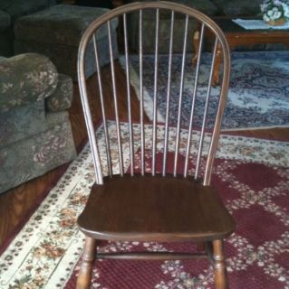Conant Ball furniture Antique Solid Oak Serpentine Chair With Spindle