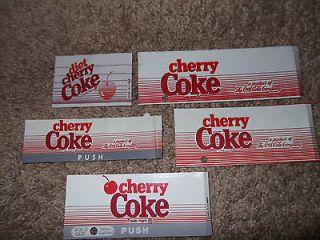 Cherry Coke Diet Coca Cola Machine Button Tag Label Lot Of 5 Vintage