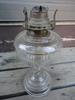 EAPG Pattern Glass Twisted Stem Oil Lamp w Queen Anne 2 Burner 1800s