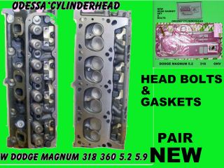 NEW DODGE JEEP MAGNUM 5.2 5.9 318 360 CYLINDER HEADS BOLTS & GASKET