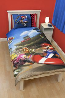 / BOYS SINGLE BED NINTENDO MARIO KART WII DUVET / QUILT COVER SET