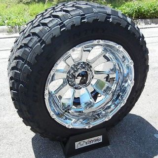 22X14 CHROME XD ARMOUR RIMS 37 TOYO M/T TIRES CHEVY GMC SIERRA