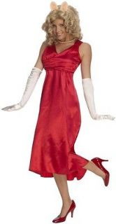 MISS PIGGY deluxe red dress muppets adult womens halloween costume XS