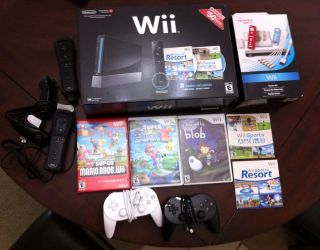 Nintendo Wii Sports Resort Pack Black Console (NTSC) + Games + Extra
