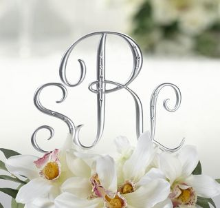 Silver Initial Monogram Rhinestone Wedding Cake Topper