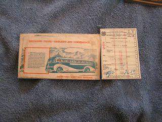 1938 Greyhound Bus Ticket & Vintage Folder/Envelope