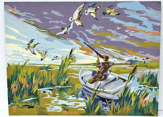 Vintage Paint by Numbers Man Duck Hunting, un framed Boat Bird Nature