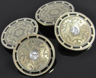 Bliss Antique 14K Gold Diamond Enamel Art Deco Circle Cufflinks