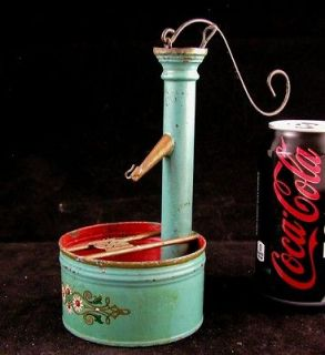FOLK ART MOVING TOY WELL HAND PUMP TIN AND COPPER HAND PAINTED