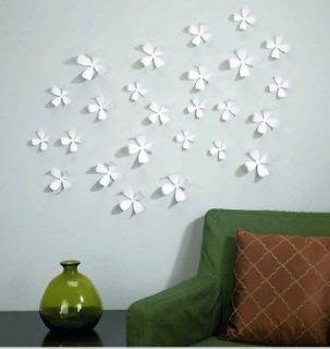 10 pcs White 3D Flower Wall Sticker Home Art Decor POP up stickers