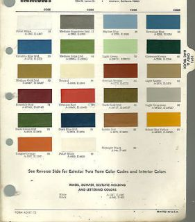 chevrolet paint colors chart in Manuals & Literature