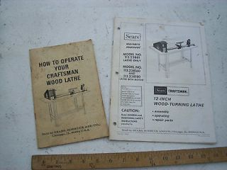 Owners Manual and How To Book From  Craftsman 12 Wood Lathe #113