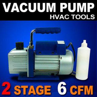 New 2 Stage 1/2HP Vacuum Pump 6CFM Rotary Vane Deep HVAC Tool AC R410a