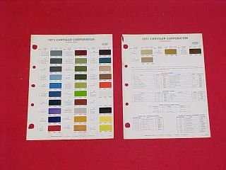 CHALLENGER CUDA DODGE PLYMOUTH COLOR PAINT CHIPS CHART BROCHURE 71