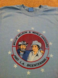 1980 Willie Nelson Merle Haggard Shirt Tour Concert LA Alabama Country