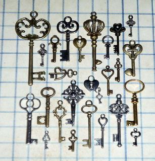 Antique Vtg old look skeleton key lot pendant heart bow charm lock