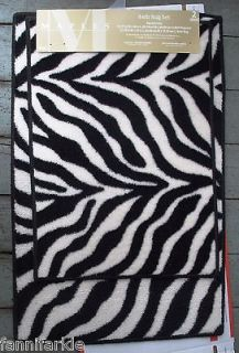 ZEBRA STRIPE BATH RUGS SET ~ 2 BLACK & WHITE ZEBRA STRIPE BATH MATS