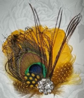yellow peacock feather bridal wedding fascinator hair clip Rhinestones