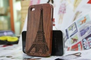 Genuine Natural Pear Wood Wooden Cover Case for Iphone 4 4S 4G + Free