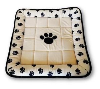 "33"" Reversible Pet Dog Cat Pillow Crate Bed Cream Black Paw Prints"