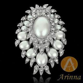 multi pearls rhinestone 18K WGP Swarovski Crystals wedding Brooch Pin