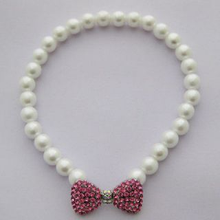 10 Dog pearls necklace,pet collar with pink bow pendant,pet jewelry