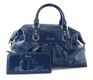 COACH Cobalt Blue Patent Leather Sabrina Satchel Bag Purse Handbag NOT