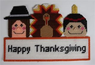 Happy Thanksgiving Sign Plastic Canvas Pattern Indian, Turkey, Pilgrim