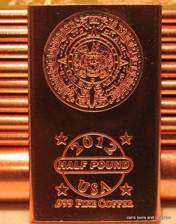 10 Half Pound .999 Fine Copper Bullion Bars Mayan Aztec Calendar The