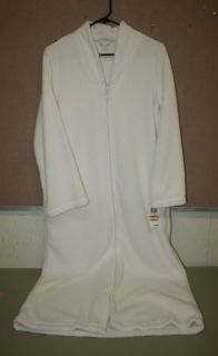 Charter Club Shaggy Zip Front V Neck Long Robe White Small or Medium