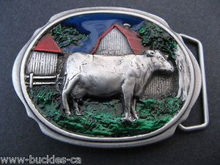 COW COUNTRY DAIRY FARM RANCH BARN BELT BUCKLE BOUCLE CEINTURE VACHE