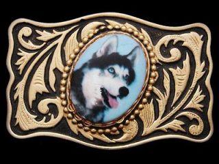VINTAGE 1970s ***SIBERIAN HUSKY*** DOG PICTURE BUCKLE