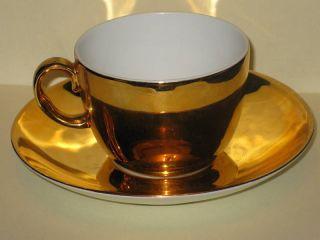 ROYAL WORCESTER   Lustre Gold 1973   CUP & SAUCER SET