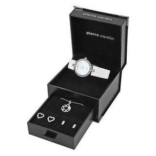 Pierre Cardin PCX0312LO6 Ladies White Watch Necklace & Earrings Gift