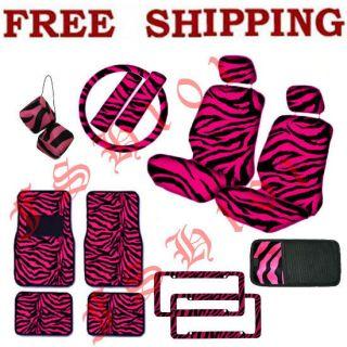 New Set of Hot Pink Zebra Print Car Seat Covers CD Visor Dice Floor