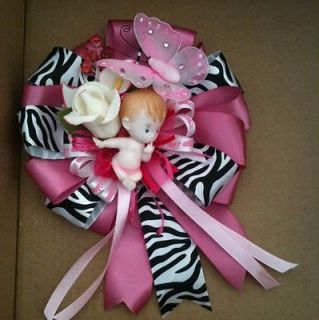 Animal Print , Zebra Pink Its A Girl Huge Corsage Baby Shower Corsage
