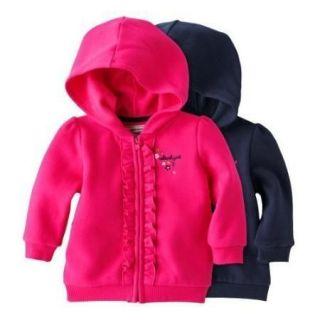 OshKosh Infant/Toddler Girls Bright Pink Fleece/Cotton Hooded Jacket