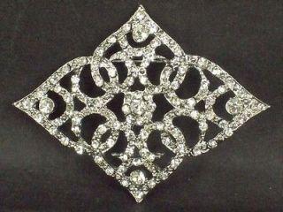 Bridal vintage style crystal sew rhombus Rhinestone brooch pin BU69