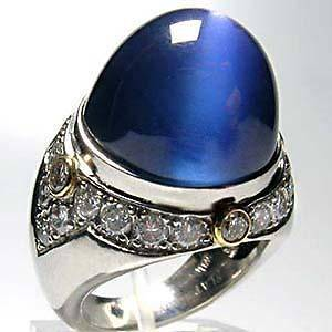 Burma Blue Star Sapphire & Diamond Ring Solid Platinum AGTA Certified