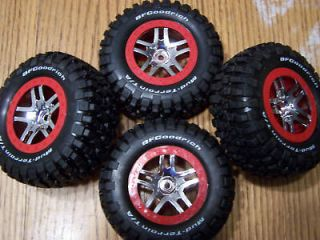 10 Platinum Slash 4x4 S1 BF Goodrich Tires & 12mm Red Wheels Fit SC10