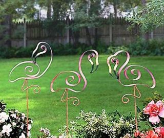 Pink Flamingo Yard Stakes Tall Swirly Metal Garden Decorations (Set of