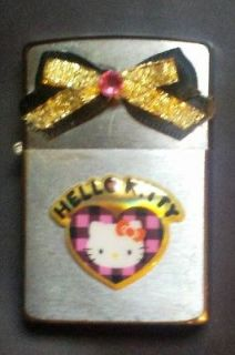 Zippo Lighter with Hello Kitty and Black & Pink Plaid with Black