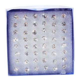 Wholesale Lots 48 Pcs Clear Rhinestone Crystal Ear Stud Earring Studs