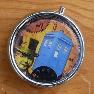 Steampunk Pocket WATCH PILL box TRINKET jewelry Case Dr Who Tardis gun
