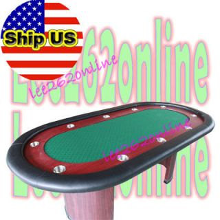 84 TOURNAMENT POKER TABLE w/ SOLID WOOD TABLES LEG GREEN