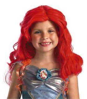 Girls Disney Ariel Little Mermaid Halloween Costume Long Red Wig