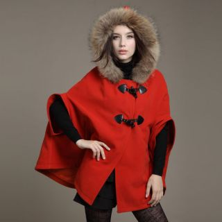 Womens Winter Cape Coats Jackets Poncho Real Fur Collars Seven sleeve