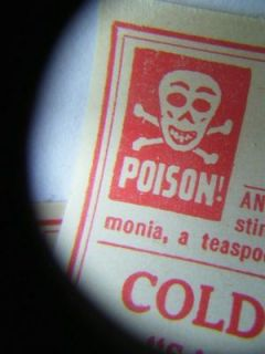 LOT OF 10  Antique Grinning Skull POISON Labels~CHLOROFORM~ Kansas