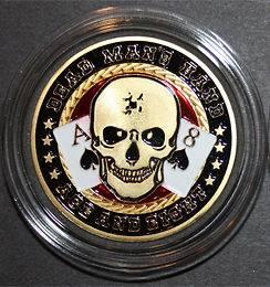 Casino Table Poker Card Guard DEAD MANS HANDS Gold